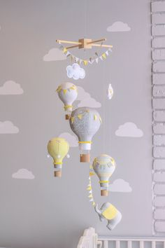 Yellow and Grey Gender Neutral Nursery Mobile, Hot Air Balloon Baby Mobile…