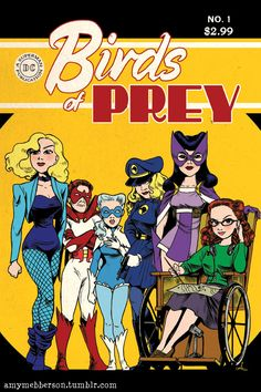 Golden Age of Comics inspired Birds of Prey - Black Canary, Hawk and Dove, Lady Blackhawk, Huntress, and Oracle/Barbara Gordon