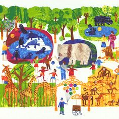 """123 to the Zoo - Animal Count Along - 24"""" x 44"""" PANEL - Quilt Fabrics from www.eQuilter.com"""