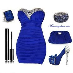 Elegant blue collocation, I love it! So Sexy looking. Party Dress Outfits, Party Dresses For Women, Sexy Dresses, Cute Dresses, Fashion Dresses, Short Dresses, Pretty Outfits, Beautiful Outfits, Cute Outfits