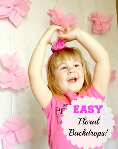 Easy floral backdrops for pictures of the kids or at an event. Cheap and super easy to make with fake flowers.