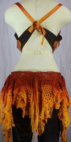 FlipNTribal To Dye For Belly Dance costume Bra and Belt set in Fire Red Blend.