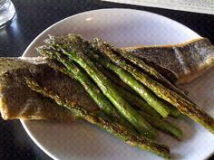 Crispy trout and asparagus