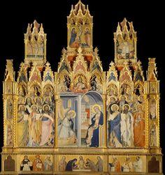 Giovanni del Biondo, Polyptych of the Annunciation with saints, 1380s, Santa Maria Novella.   Commissioned by Madonna Andreola di Jacopo di Donato Acciaiouli, for her dead husband.