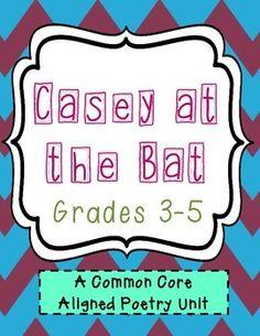 Casey at the Bat Poetry Unit - Common Core Aligned Lesson Plan Outline, Figurative Language Activity, Casey At The Bat, Poetry Unit, Reading Projects, Common Core Ela, Poetry Month, Classroom Fun, Language Activities