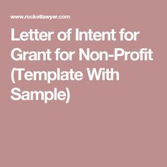 Letter Of Intent For Grant For Non Profit (Template With Sample)