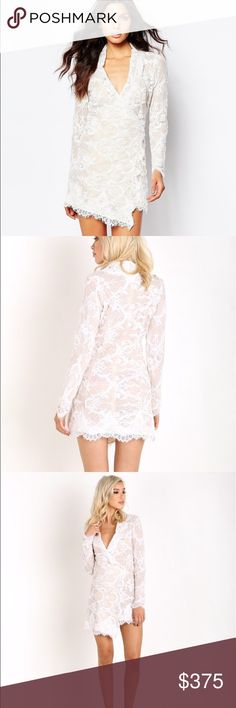 Stone cold fox Fillmore dress in white lace Features chorded lace with scalloped detailing at the sleeves and hem. It's wrap style closure and A-symmetrical hem make for the most flattering fit. Lined with a tan mesh hem. This still has the tags on. It was too big on me. This is a size m/l Stone Cold Fox Dresses Long Sleeve