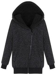 Sale 23% (41.69$) - Pocket Casual Thick M-3XL Loose Beige/Black Zipper Hood Women Coat