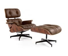 Eames chair: Rove Lounge Chair with Ottoman - Palermo Dark Chocolate + Rosewood