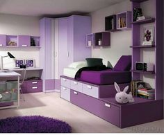 Teen Girl Bedrooms - From do it yourself to fun teenage girl room images. Got to try striking demo reference 3707564659 Beautiful Bedroom Designs, Girl Bedroom Designs, Beautiful Bedrooms, Beautiful Interiors, Purple Bedroom Design, Purple Home Decor, Girls Bedroom Colors, Purple Bedrooms, Girl Bedrooms