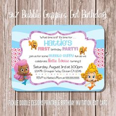 Hey, I found this really awesome Etsy listing at http://www.etsy.com/listing/156003364/bubble-guppies-girl-birthday-invitation
