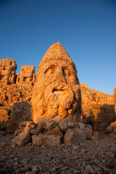 Colossal head of Hercules at sunrise, Commagene Kingdom, 1st century B.C., Mt. Nemrut (Nemrud), Turkey