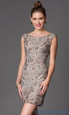 Shop Simply Dresses for short sleeveless sequin cocktail dresses for homecoming, prom or party. Shail K short sequin embellished homecoming dresses.