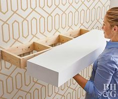 How to Build Floating Shelves Make this minimalist storage solution for your next weekend project. How to Build Floating Shelves Make this minimalist storage solution for your next weekend project. Diy Wood Projects, Furniture Projects, Diy Furniture, Furniture Design, Basement Furniture, Bedroom Furniture, Entryway Furniture, Furniture Removal, Office Furniture