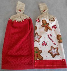 Crochet Hand Top Christmas Treats Towels - Christmas Gingerbread Hanging Kitchen Towels - Granny Kitchen Towel - Hanging Towel Set by CrochetByIlene on Etsy