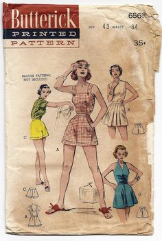1950s Sunsuit and 3 Styles of Shorts Butterick Pattern 6568 UNCUT. $29.00, via Etsy.