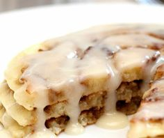 Cinnamon Roll Pancakes. If school is delayed tomorrow we will be having these, morphed GF of course!
