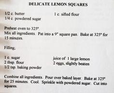 Square Pan, Lemon Squares, Lemon Dessert Recipes, Sifted Flour, Powdered Sugar