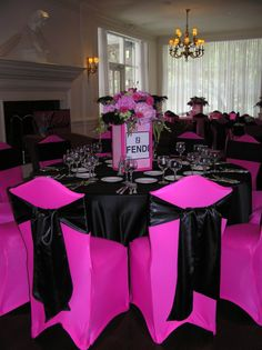 Hot Pink, Black, and Silver. Pink, Fuchsia, and Zebra. Hot Pink and Black Fendi Bridal Shower Black Centerpieces, Wedding Centerpieces, Paris Rosa, Pink Black Weddings, Silver Wedding Decorations, Rosa Pink, Pink Table, Bridal Shower, Wedding Showers