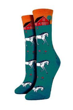Cute and cozy cotton blend socks. Great gift to give and to receive. Machine wash.  Green Horse Socks by Pink Penguin. Accessories - Socks West Village Manhattan New York City