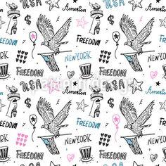 USA Symbols Repeating Pattern by Ksenia Romanova at patterndesigns.com Vector Pattern, Pattern Design, Monochrome Pattern, American Symbols, Repeating Patterns, Eagles, Color Patterns, Your Design, Coloring Books