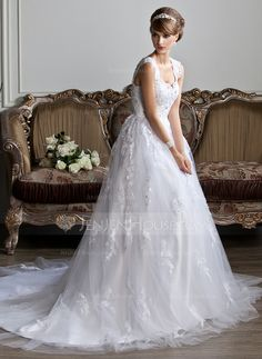 Wedding Dresses - $236.99 - Ball-Gown V-neck Chapel Train Tulle Wedding Dress With Lace Beading (002011394) http://jenjenhouse.com/Ball-Gown-V-Neck-Chapel-Train-Tulle-Wedding-Dress-With-Lace-Beading-002011394-g11394