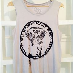 Chaser Neil Young Crazy Horse Tank Top size small Rare! Sold out everywhere!  Chaser tank top muscle tee in a size small. Neil Young Crazy Horse American Tour. This is a very pale bluet grey color, it's gorgeous! Hate to part with this! Only worn 2 times... Excellent condition. 100% organic cotton Chaser Tops Muscle Tees