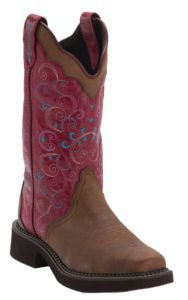 Justin® Gypsy™ Women's Bay Apache Brown w/Lipstick Pink Top Triad Square Toe Western Boots   Cavender's