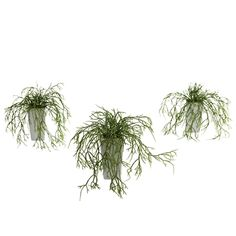 Wild Grass w/White Vase (Set of 3.)  Wild grass comes in many forms and textures. Some grow high, and others stay low. This wild grass set is of the latter type, with the blades sprouting up and over the included decorative planters. The green of the grass perfectly accents the white of the vases, making for a very versatile decorating piece. Plus, this is a set of three, so you can put one here, there, and everywhere! #wildgrass #silkplants