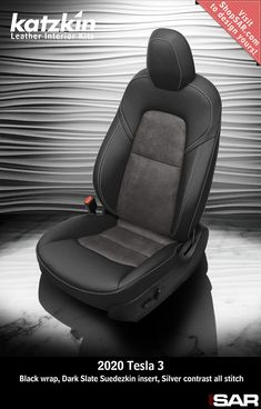 - This is a 2020 Tesla 3 seat with Black wrap, Dark Slate Suedezkin insert, Silver contrast all stitch. Leather Kits, Custom Leather, Real Leather, Automotive Upholstery, Car Upholstery, Camo Gear, Leather Seat Covers, Popular Colors, Leather Interior