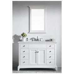 "Best Deal - Eviva Elite Stamford® 48"" White Solid Wood Bathroom Vanity Set with Double OG White Carrera Marble Top & White Undermount Porcelain Sink EVVN709-48WH"