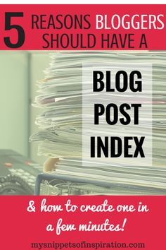I never really thought about having a blog post index until another blogger was talking about hers. Now I don't know how i functioned properly without one!