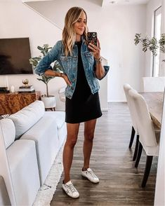 Black Denim Jacket Outfit, Dress With Jean Jacket, Jacket Dress, Black Jeans, Cute Sneaker Outfits, Casual Outfits, Fashion Outfits, Girly Outfits, Work Outfits
