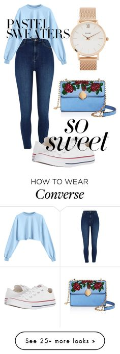 """love #101"" by wykwintna9 on Polyvore featuring Converse, Sunset + Spring, CLUSE and pastelsweaters"