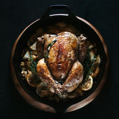 Skillet Roast Chicken with Parsnips and Fennel