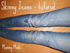 DIY Skinny Jeans!  Turn a pair of bootcut jeans into a pair of skinny jeans. And a cute heart patch tutorial too! {Mammy Made}