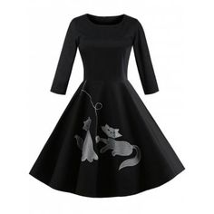 cdaac6893e9c Free shipping 2018 Kitten Embroidery Three Quarter Sleeve Dress BLACK XL  under $27.38 in Vintage Dresses