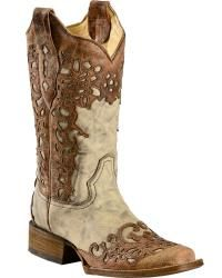 Corral Floral Laser Cutout Cowgirl Boots - Square Toe - Sheplers