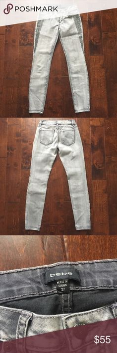 Bebe Grey Swarovski Embellished Jeans 27 Never been worn. No tags attached. All crystals attached. Size 27. Gray denim. bebe Jeans Skinny