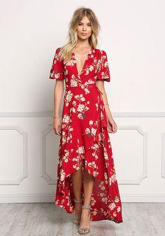 Red Floral Wrap Hi-Lo Maxi Dress - Dresses - Boutique Culture More