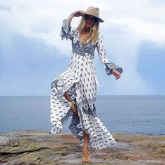 Women V Neck Bohemian Maxi Dress Ladies Casual Bandage Long Beach Dress Print Summer Dresses Vestidos color 2 XXXL Sexy Dresses, Beach Dresses, Summer Dresses, Bandage Dresses, Dress Beach, Beach Tunic, Cheap Dresses, Summer Outfits, Bodycon Dress