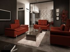 red leather sofa living room ideas - Google Search