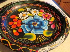 "9"" Round Batea Mexican Folk Art Wood Tole Tray Bowl  Painted Signed Dated 6-1-62"