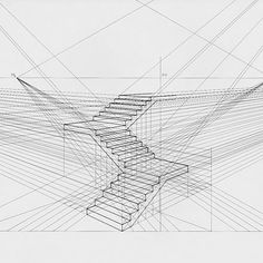 A simplistic perspective drawing of stairs Interior Architecture Drawing, Architecture Concept Drawings, Architecture Sketchbook, Perspective Drawing Lessons, Perspective Sketch, How To Draw Stairs, Geometric Drawing, Sketches Tutorial, Object Drawing