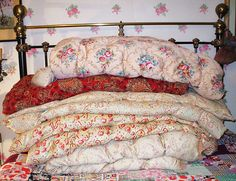 Cosy, cuddly eiderdowns by the vintage cottage