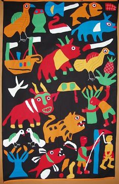 Appliqué cloth Republic of Benin; Fabric Painting, Fabric Art, Naive, Arte Inuit, Inuit Art, Art Premier, American Quilt, African Textiles, African Art