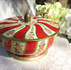 Vintage Red Floral tin biscuit / cookie barrel. Footed pedestal. England. Storage jar Gold Boho canister, jewelry box holder trinket candy by WonderCabinetArts on Etsy https://www.etsy.com/listing/222383625/vintage-red-floral-tin-biscuit-cookie