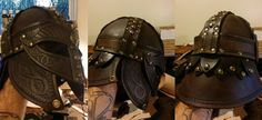 Leather Viking Helm  2.0 by theDOC30427 helmet armor armour equipment gear magic item | Create your own roleplaying game material w/ RPG Bard: www.rpgbard.com | Writing inspiration for Dungeons and Dragons DND D&D Pathfinder PFRPG Warhammer 40k Star Wars Shadowrun Call of Cthulhu Lord of the Rings LoTR + d20 fantasy science fiction scifi horror design | Not Trusty Sword art: click artwork for source