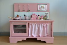 Kitchen made out of old dresser . . .awesome! Going to do it!