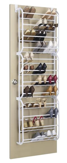 Details About Whitmor Over The Door Shoe Rack 36 Pair Fold Up Nonslip Bars